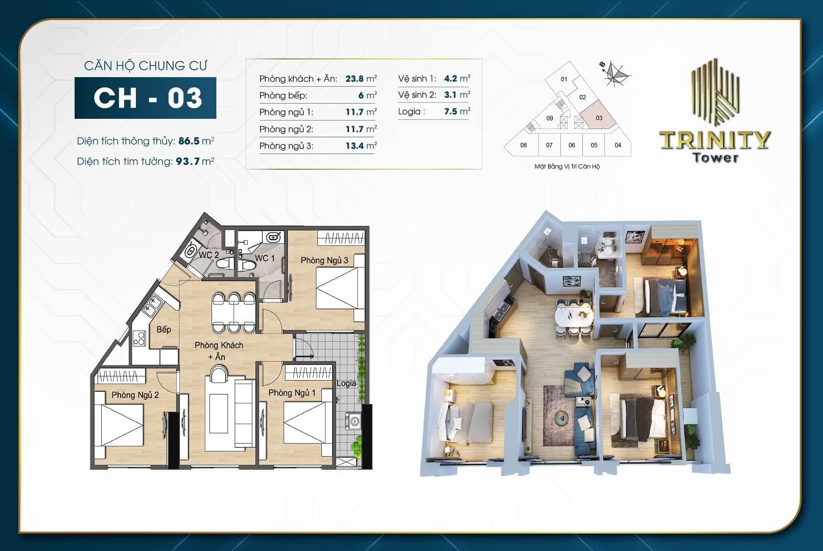 thiết kế chung cư trinity tower căn hộ 03