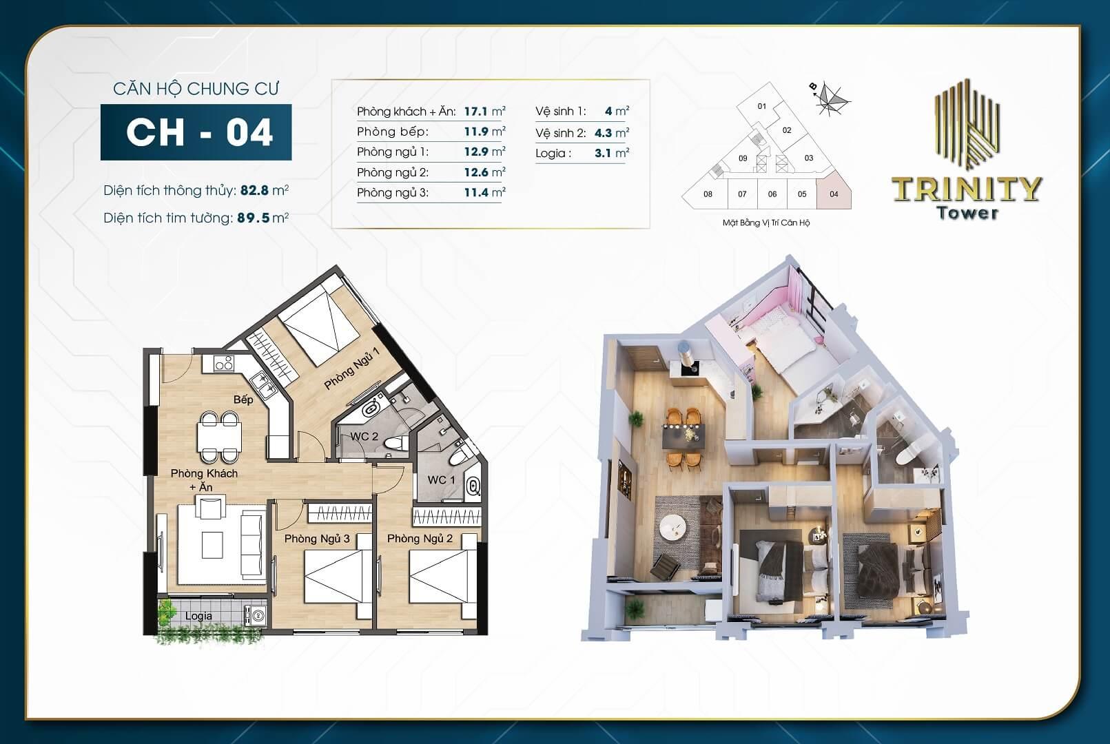 thiết kế chung cư trinity tower căn hộ 04