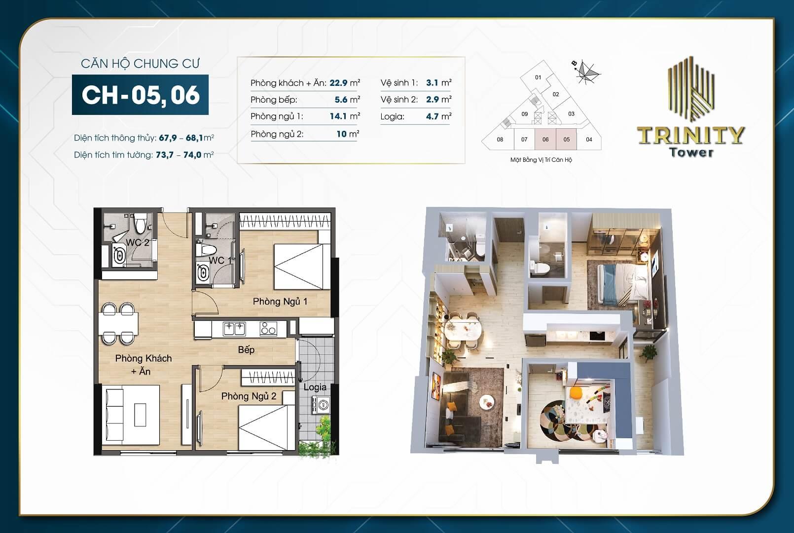 thiết kế chung cư trinity tower căn hộ 05