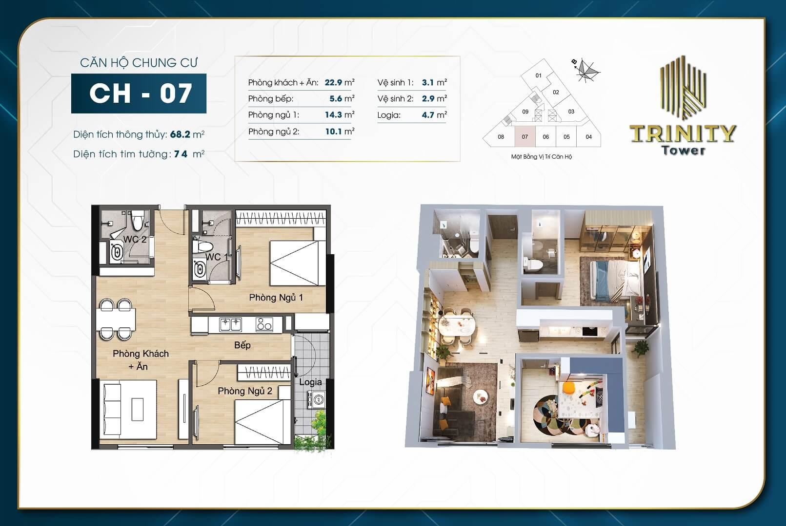 thiết kế chung cư trinity tower căn hộ 07