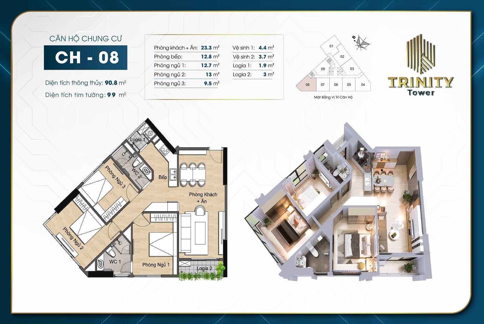 thiết kế chung cư trinity tower căn hộ 08