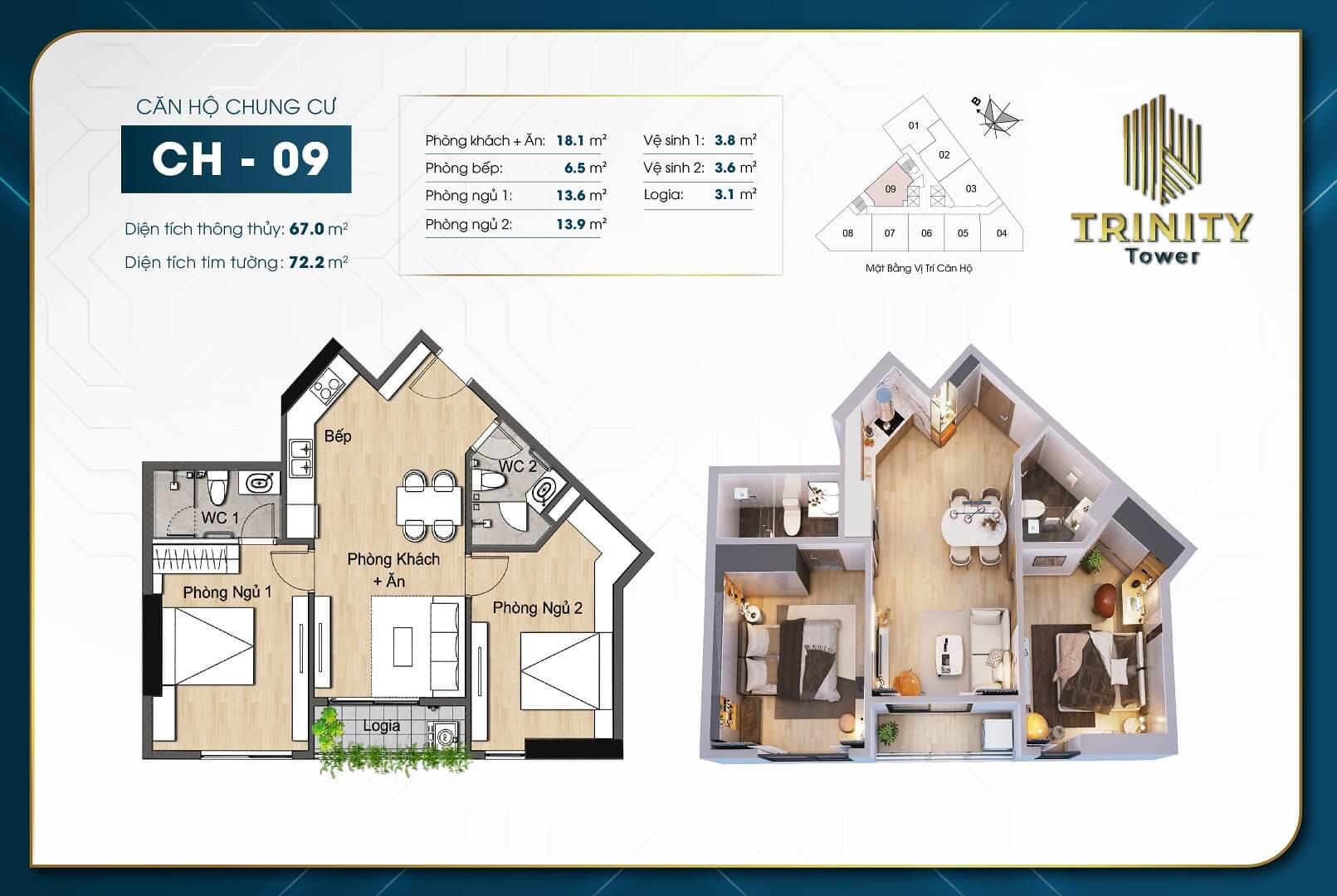 thiết kế chung cư trinity tower căn hộ 09