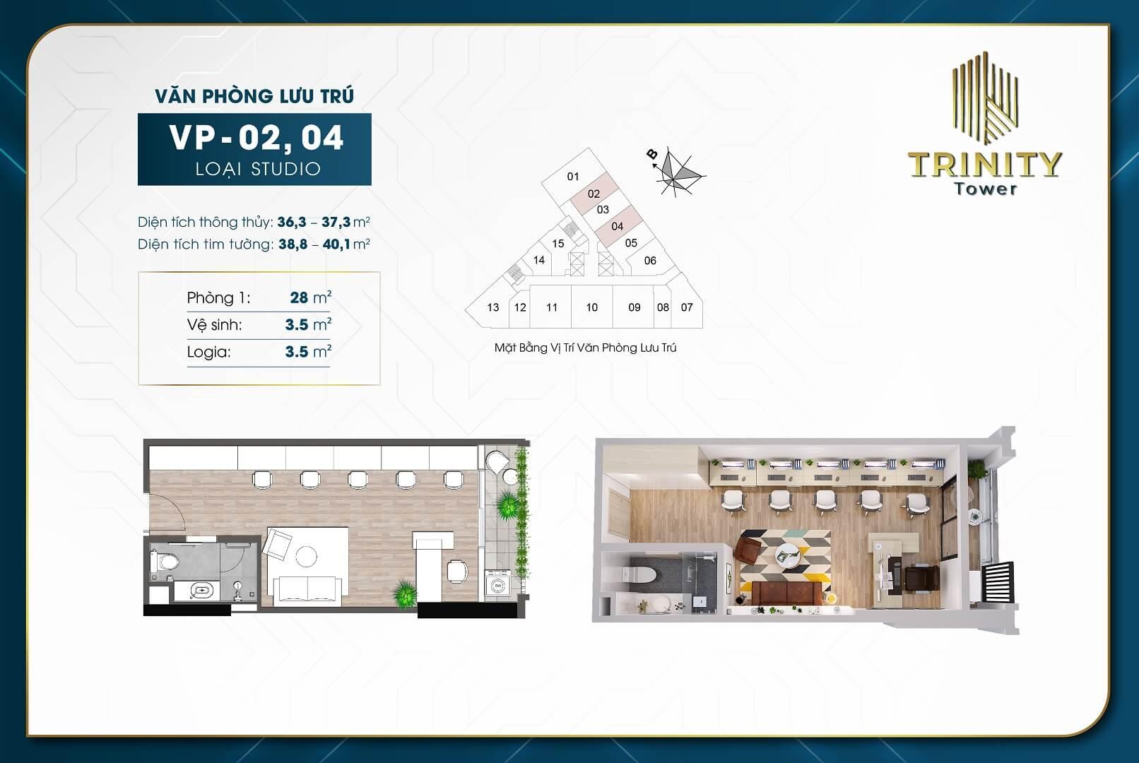thiết kế căn hộ officetel trinity tower