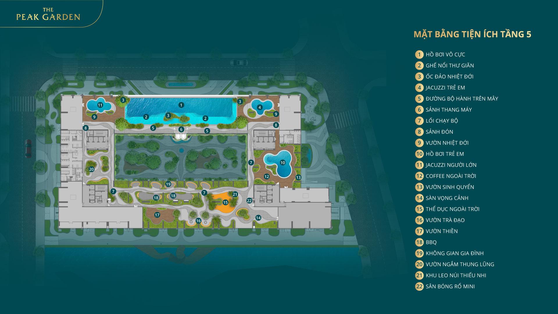 tiện ích tầng 5 dự án the peak garden quận 7
