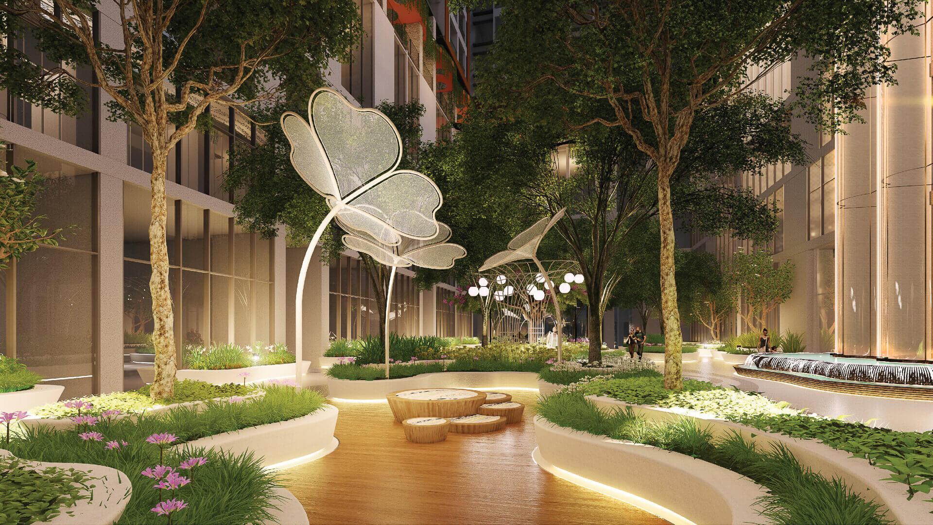 vườn ánh sáng tại the peak garden quận 7