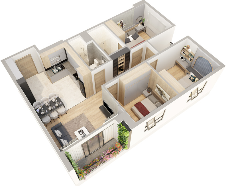 thiết kế căn hộ phương đông green home việt hưng long biên