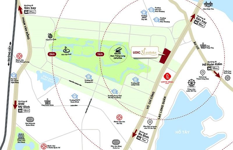 vị trí dự án udic westlake võ chí công tây hồ